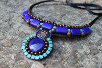 Ожерелье сине - бирюзовое с кабошоном