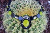 Ожерелье с пиритом салатовое