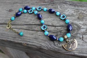 Ожерелье сине-бирюзовое с агатом