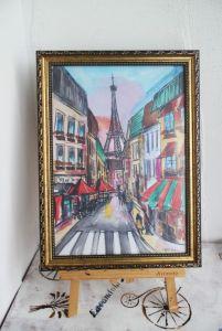 Нарисованные картины Картина акварель Париж Франция Эйфелева Башня
