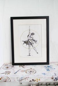 Нарисованные картины Картина акварель балерина танцовщица