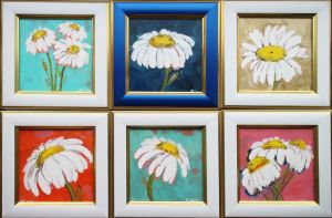 Картины маслом Набор картин с ромашками
