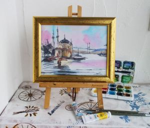 Нарисованные картины Картина акварель Стамбул Турция
