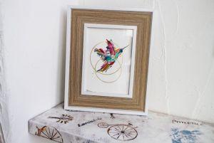 Нарисованные картины Картина акварель Райская птица в золотой кольце