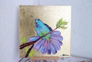 Картины маслом Райская птица на золотом фоне