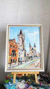 Нарисованные картины Картина масляная живопись Прага Чехия центр города