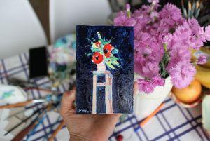 Картины маслом Картина масляная живопись букет цветов в вазе на стуле