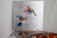 Картина маслом птицы с поталью