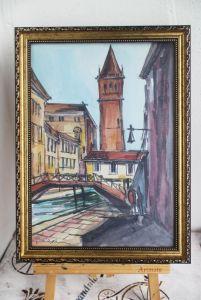Нарисованные картины Картина акварель канал Венеция Италия