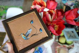 Картины маслом Райская птица на бронзовом фоне