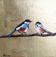Картина маслом птицы воробьи с поталью