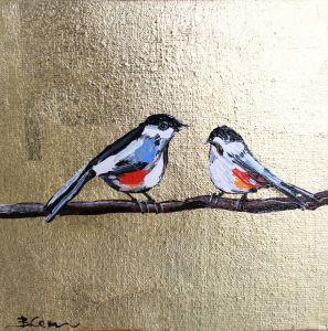 Нарисованные картины Картина маслом птицы воробьи с поталью