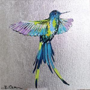Картины маслом Райская птица на серебряном фоне