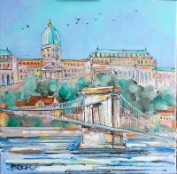 Картина маслом Будапешт мост