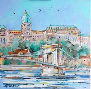 Нарисованные картины Картина маслом Будапешт мост