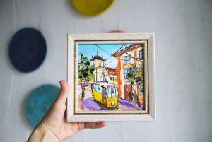 Нарисованные картины Картина масляная живопись трамвай