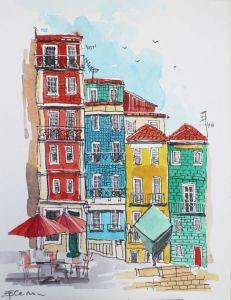 Нарисованные картины Картина акварель Рибейра Порту Португалия
