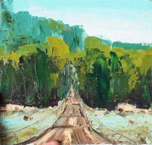 Картины маслом Картина мост через горную реку Шешоры