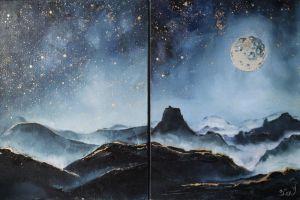 Картини маслом Гори вночі (Диптих)