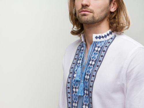 Мужская вышиванка Орий синяя