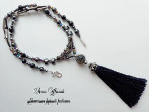 Кулон с черным агатом Кулон Венецианская ночь