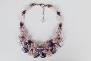 Ожерелье из бисера Сиреневое