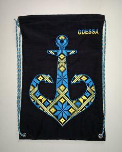 """Рюкзак ручной работы Cумка-рюкзак с вышивкой """"Одесский  якорь"""""""