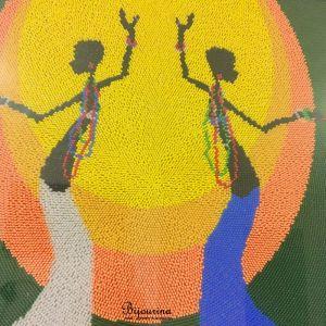 Декор для дома Домашний декор. Вышивка бисером в африканском стиле. Танец африканских женщин
