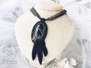 Кулоны ручной работы Кулон-подвеска с черным агатом