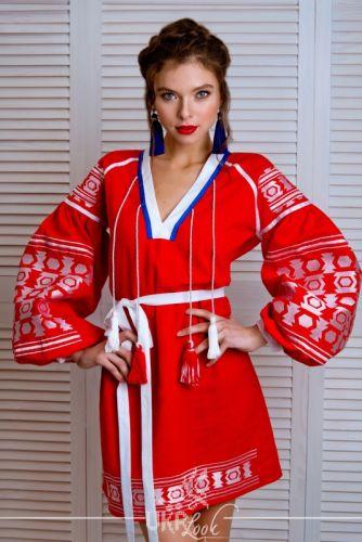 """Льняное платье """"Красная геометрия"""""""