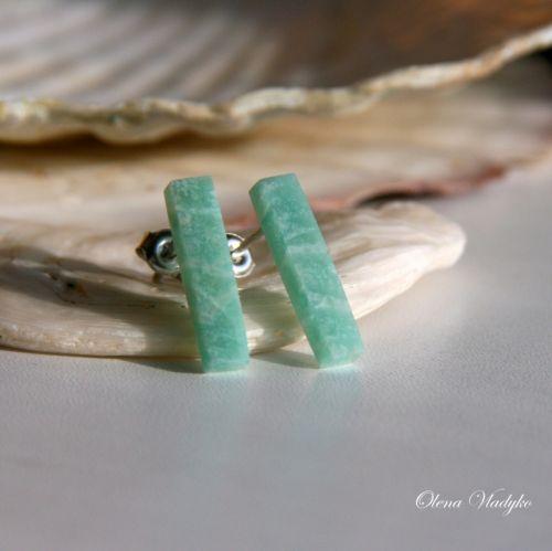 Срібні сережки пусети з амазонітом