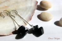 """""""Balanced Stones"""" длинные серебряные серьги с черным агатом"""