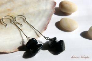 """Серьги с агатом """"Balanced Stones"""" длинные серебряные серьги с черным агатом"""