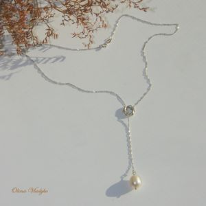 """Кольє з перлами Срібне кольє-лариат з натуральною перлиною  """"Leyla"""" , Y-кольє"""