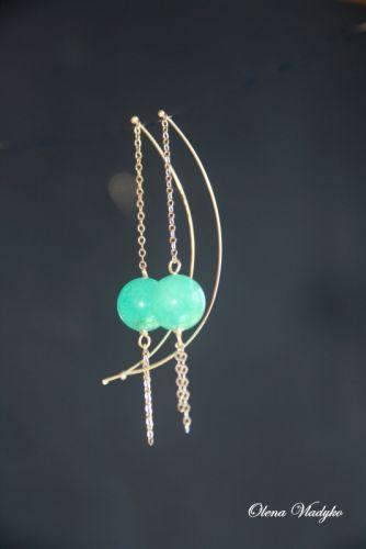 """""""TiffanyQuartz"""" Серебряные серьги цепочки с тонированными кварцем"""