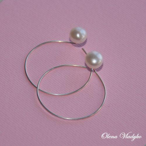Cрiбнi сережки з перлами