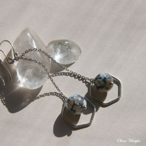 Срібні сережки ланцюжки з агатом