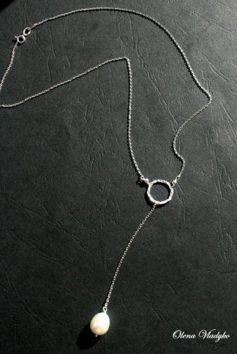 """Срібне кольє-ларіат з натруальними перлами """"White Pearl"""""""