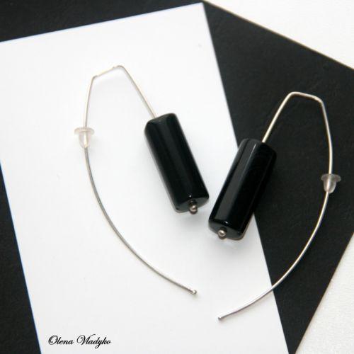 """Срібні сережки з агатом """"Black Agate Bar Earrings"""""""
