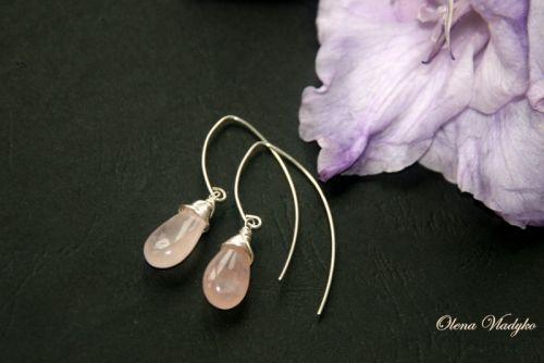 """Серебряные серьги с розовым кварцем """"Rose Quartz Drops"""""""