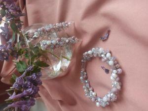 Комплекты Серьги и браслет хрусталь, лавандовый розовый белый голубой цвета