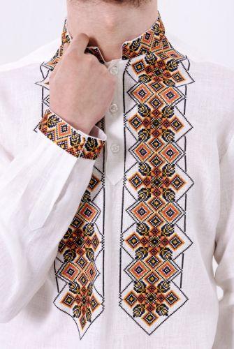 Стильна біла чоловіча вишита сорочка з геометричним орнаментом на довгий  рукав 3217 655ddefc944aa
