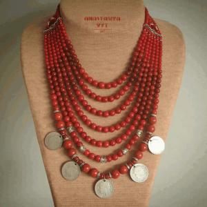 Ожерелья и колье ручной работы «Монисто» с серебряными монетами