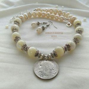 Намисто з перлами  Баламути з сережками «Ядвіга»
