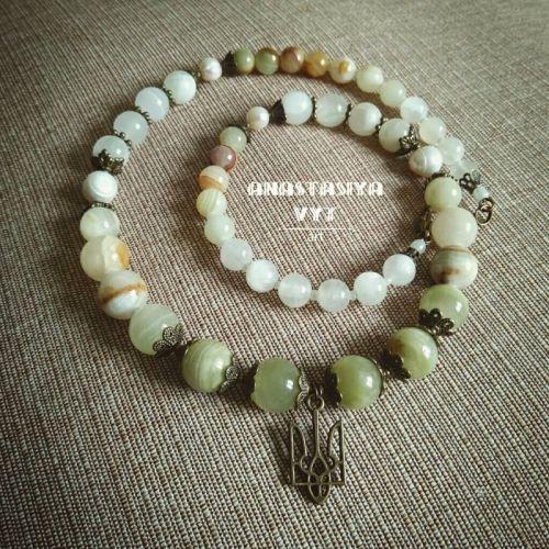 Ожерелье «Ониксовое с трезубцем»