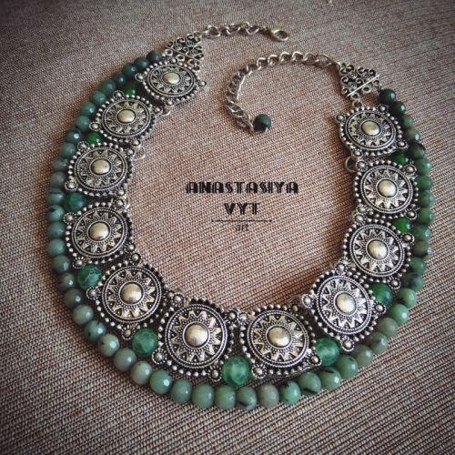 Ожерелье «Серебро с мхом»