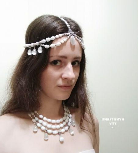 Тика и ожерелье в индийском стиле «Снег»