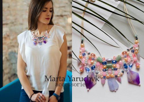 Пастельниx цветов ожерелье с аметистом, жемчугом, кварцем, xалцедоном