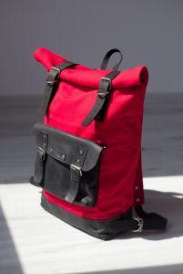 Рюкзак ручной работы Roll Top Max (красный/черный)