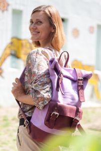 Рюкзак ручной работы Рюкзак Roll Top MAx (сиреневый/бордовый)